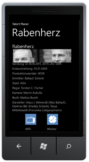 Windows Phone Tatort Planer